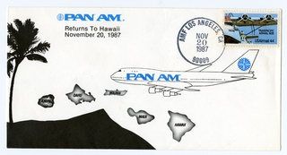 airmail flight cover: Pan American World Airways, Boeing 747