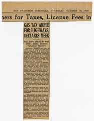 newspaper clipping: San Francisco Chronicle, Bayshore highway funding