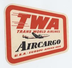luggage label: TWA (Trans World Airlines), Lockheed Constellation