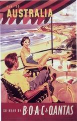 promotional print: BOAC (British Overseas Airways Corporation) and Qantas Airways