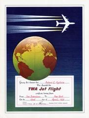 souvenir certificate: TWA (Trans World Airlines), Jet flight for Robert C. Ogilvie
