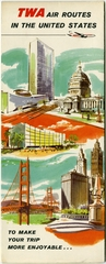 route map: TWA (Trans World Airlines), domestic routes