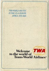 route map: TWA (Trans World Airlines), domestic and international routes