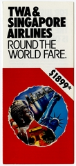 brochure: TWA (Trans World Airlines) and Singapore Airlines, partnership