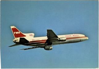 postcard: TWA (Trans World Airlines), Lockheed L-1011 TriStar