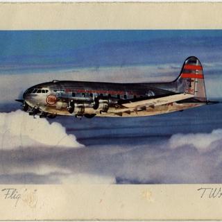postcard and passenger flight record: Transcontinental & Western Air (TWA), Boeing 307 Stratoliner
