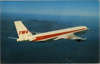 postcard: TWA (Trans World Airlines), Boeing 707-131