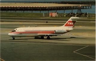 postcard: TWA (Trans World Airlines), Douglas DC-9