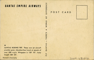 postcard: Qantas Airways, Boeing 707