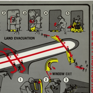 safety information card: TWA (Trans World Airlines), Douglas DC-9