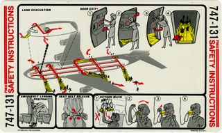 safety information card: TWA (Trans World Airlines), Boeing 747-131