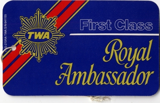 luggage identification tag: TWA (Trans World Airlines)