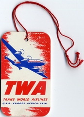 luggage identification tag: TWA (Trans World Airlines), Lockheed L-049 Constellation