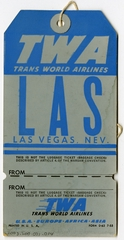 baggage destination tag: TWA (Trans World Airlines)