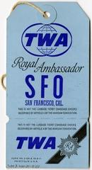 baggage destination tag: TWA (Trans World Airlines), San Francisco International Airport (SFO)