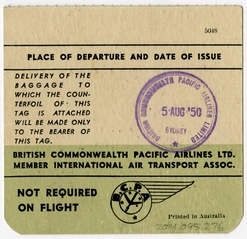 baggage destination tag: British Commonwealth Pacific Airlines (BCPA)