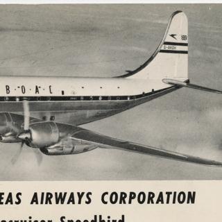 flight information packet: BOAC (British Overseas Airways Corporation), Qantas Empire Airways, South African Airways, Tasman Empire Airways Limited, Boeing 377 Stratocruiser, Lockheed L-649 Constellation