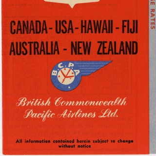timetable: British Commonwealth Pacific Airlines (BCPA), quick reference, transpacific