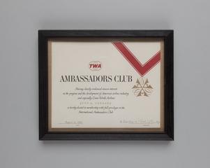 certificate: TWA (Trans World Airlines), Ambassadors Club for John M. Burnard