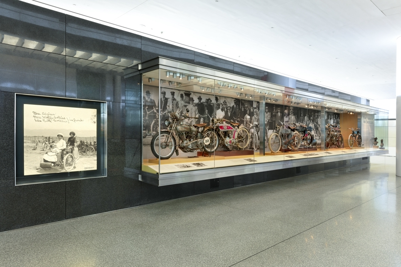 """Installation view of """"Early American Motorcycle"""""""