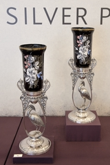 """Installation view of """"Eclectic Taste: Victorian Silver Plate"""""""