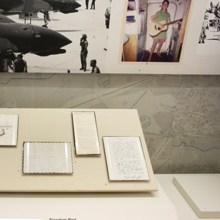 "Installation view of ""Flying the Freedom Birds: Airlines and the Vietnam War"""