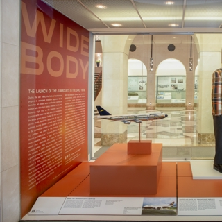 "Installation view of ""Widebody: The Launch of the Jumbojets in the Early 1970s